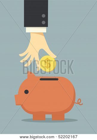 Business Hand Saving Money In Piggy Bank