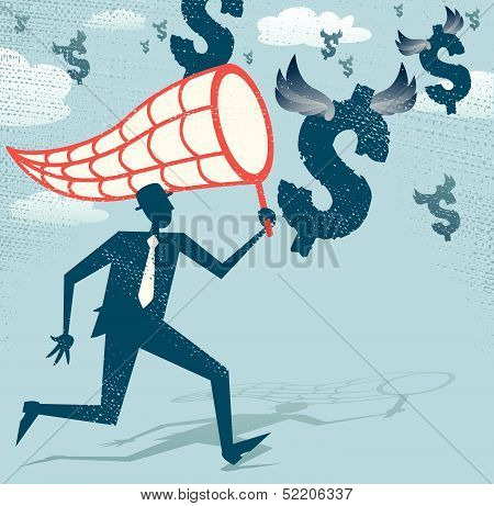 Abstract Businessman chasing and netting Dollars.