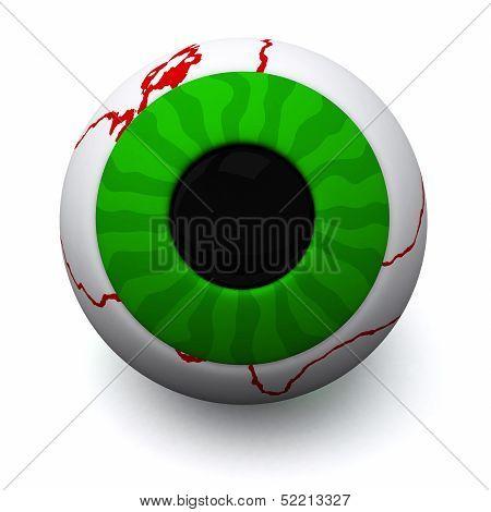 Green Halloween eyeball, 3d
