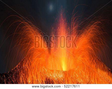 Huge volcano eruption