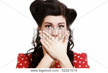 Surprised Girl Covering Her Mouth By The Hands