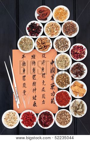 Traditional chinese herbal medicine collection and acupuncture needles with mandarin script calligraphy. Translation describes the functions to increase body and spirit health and to balance energy.