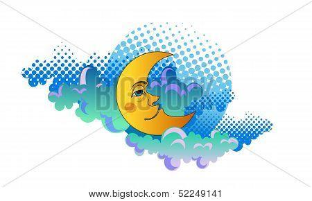 Yellow moon sleeping on clouds.