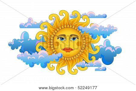 Big hot gold sun on clouds.
