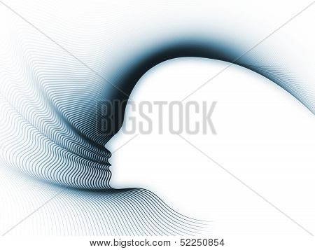 Geometry of Soul series. Visually attractive backdrop made of profile lines of human head suitable as element for layouts on education science technology and graphic design poster