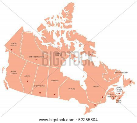 Map of Canada with Provinces and Capital Cities