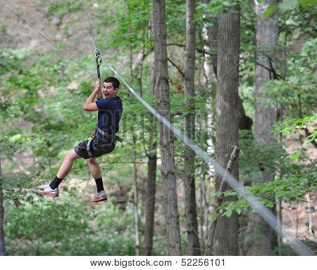 Teen Boy on Zip Line