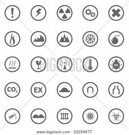 Warning Sign Icons On White Background