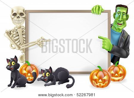 Halloween Sign With Skeleton And Frankenstein