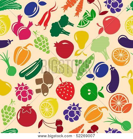 vector seamless background with fruits and vegetables