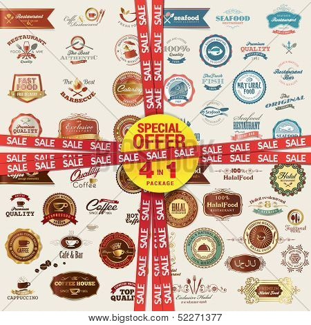 Set of labels, banners, stickers, badges and elements for food and drink. Special offer 4 in 1 packa