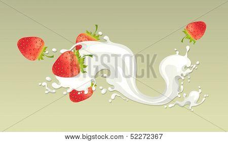 Milk splash with strawberry