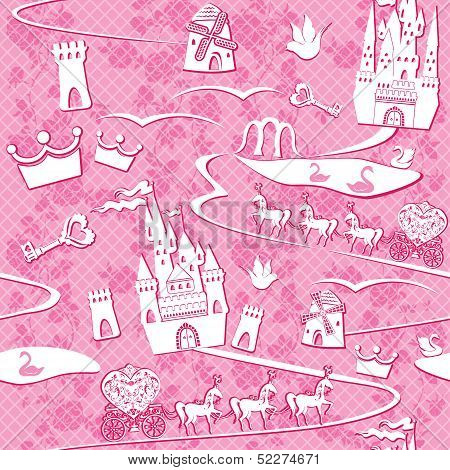 Seamless Pattern With Fairytale Land - Castles, Lakes, Roads, Mills,carriages And Horses - Pink Prin
