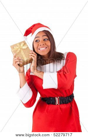 Young African American Woman With  Santa Hat And Gifts