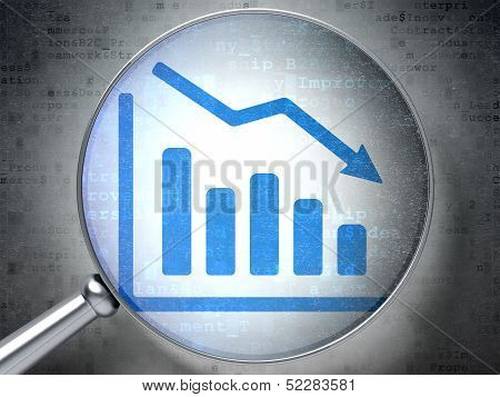 Business concept:  Decline Graph with optical glass on digital b