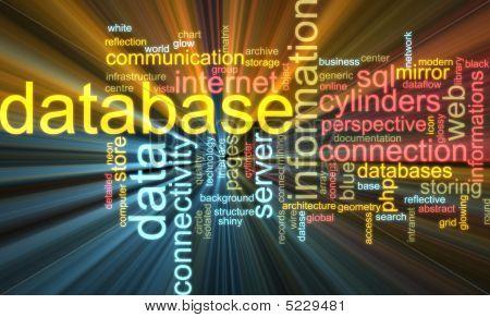 Datenbank-Wort-Wolke glühend