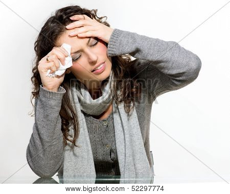 Sick Woman. Flu. Woman Caught Cold. Sneezing into Tissue. Headache. Virus. Isolated on White Background