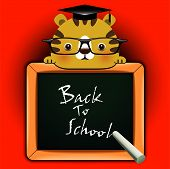 """Vector background with funny giraffe around a blackboard with the words """"Back to school!"""" poster"""