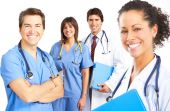 Smiling medical people with stethoscopes. Doctors and nurses over white background poster