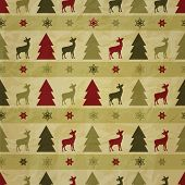 vector seamless christmas winter pattern with fir trees deers and snowflakes on crumpled paper texture eps 10 transparency effects seamless pattern without transparency in swatch menu poster