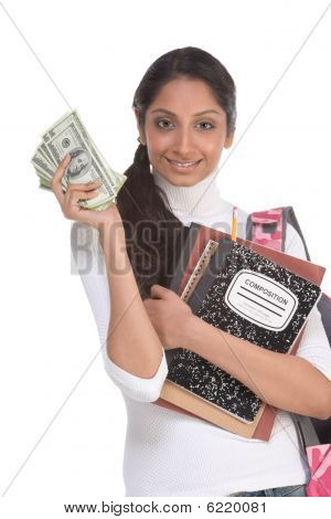 Ethnic Indian college student with compositions notebook copybooks and backpack holds pile 100 (one hundred) dollar bills happy getting money help to subsidies costly university cost poster