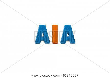 Letter magnets AIA isolated on white  poster