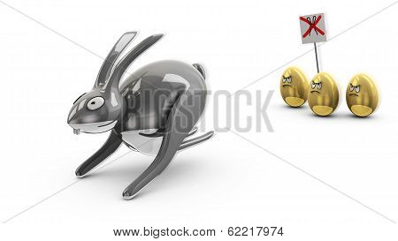 Angry Easter eggs against rabbit, 3d