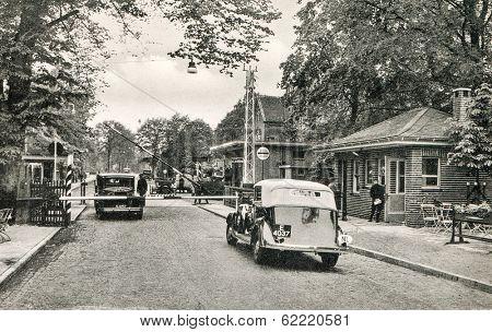 GRONAU, GERMANY, CIRCA  1937: Glaner Br�¼cke (German - Holland border)