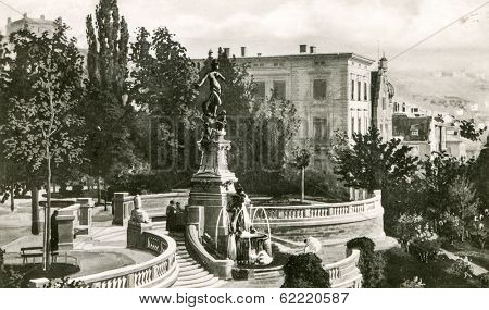 STUTTGART, GERMANY, CIRCA 1940: Eugens-Brunnen (Galateabrunnen) fountain  at a viewing platform at Eugensplatz in Stuttgart-Ost . It was founded in 1890 by architect and sculptor Otto Rieth