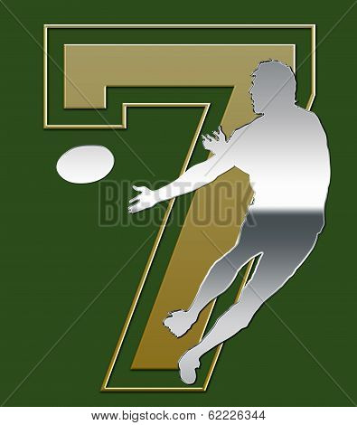 Silver And Golden Sevens Rugby Emblem On Green