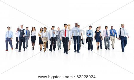 Large Group of Business People with Infographic