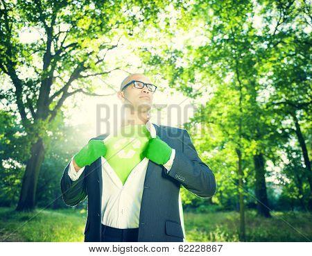 Environmentalist Superhero Businessman in Nature