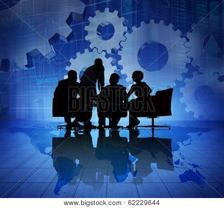 Silhouette of Business Teamwork Meeting