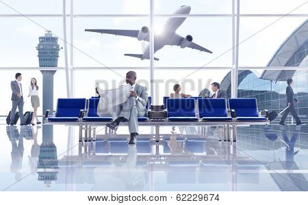 Business People Waiting at Airport with 3D Airplane
