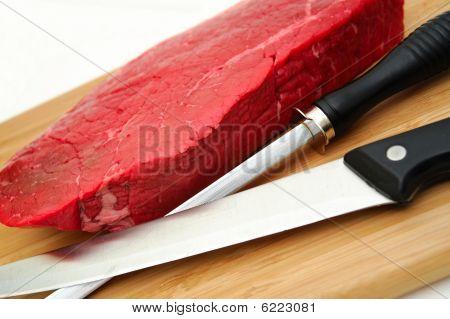 Raw Steak An Knife