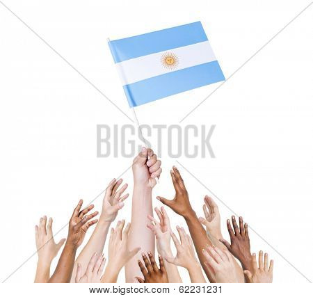 Human Hands Holding Argentinean Flag