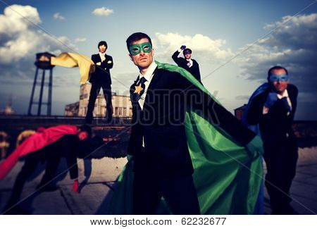 Multi-ethnic and Diverse Superhero Businessmen on Rooftop