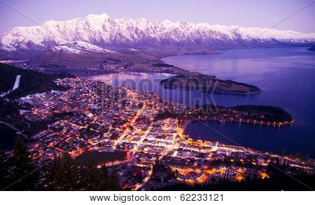 Aerial View of Queenstown with City Lights, New Zealand