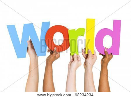 Multi-Ethnic Group Of People Holding The Word World