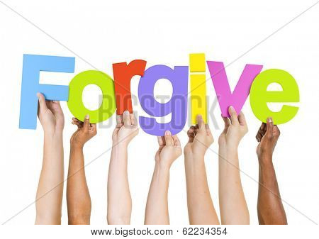 Multi-Ethnic Group of Diverse People Holding Letters To Form A Forgive