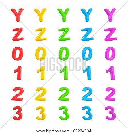 Colorful Alphabet and Numbers 3D Ballons Y-3