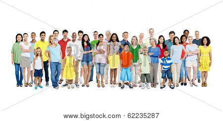 A Large Group of Diverse Colorful Happy People