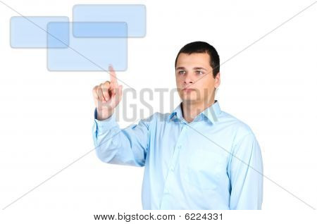 Man pushing a button of the monitor