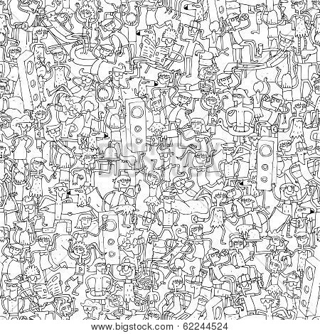 Dance Party Seamless Pattern With Doodled Youngsters Having Fun In Black And White