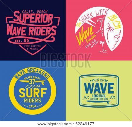 Vector set of travel beach surf emblems and symbols