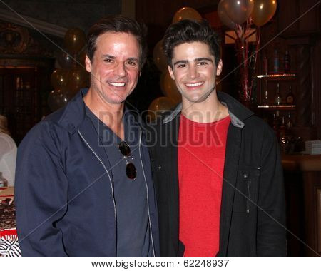 LOS ANGELES - MAR 25:  Christian LeBlanc, Max Erlich at the Young and Restless 41st Anniversary Cake at CBS Television City on March 25, 2014 in Los Angeles, CA
