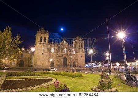 Cusco, Peru, South America, Cathedral Of Santo Domingo. Night Views On Main Square, Plaza De Armas D