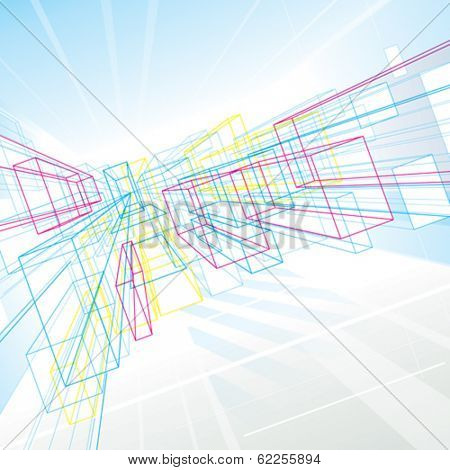 Abstract perspective lines drawing background for architecture or interior.