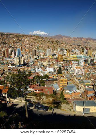 Modern Centre Of La Paz And Illimani Mountain