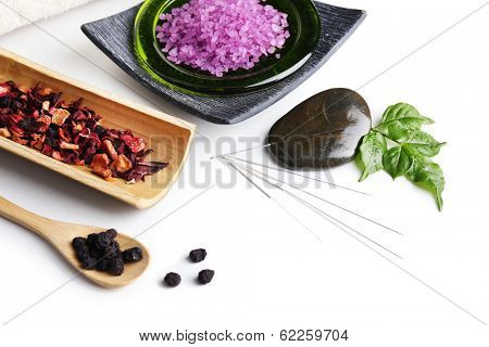 Composition with needles for acupuncture, isolated on white poster